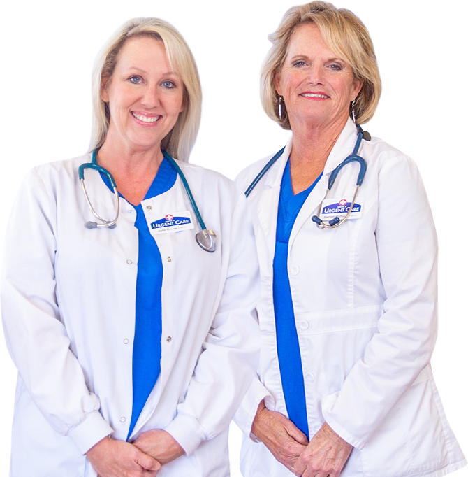 Portrait of Julie Crowe and Deene Mefford, nurse practitioners at Mercy Urgent Care in Newburgh, Indiana