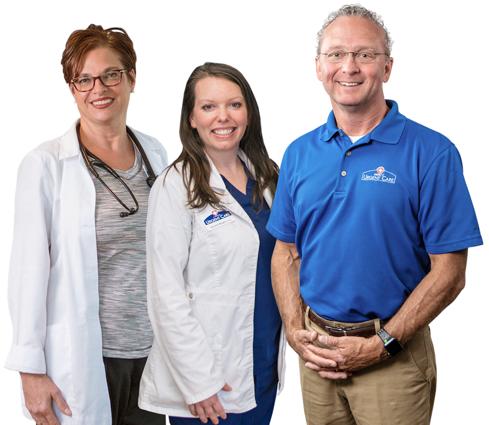 Portrait of Gateway Urgent Care nurse practitioner Stacey Clark, nurse practitioner Krystal Wright, and managing partner John McNulty