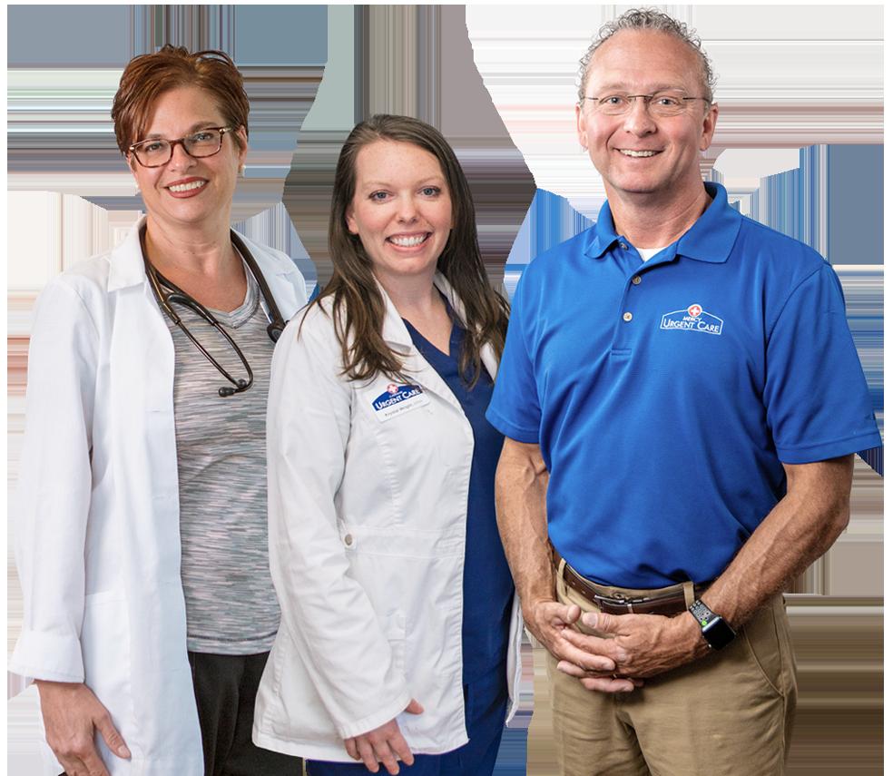 Portrait of Gateway Urgent Care nurse practitioner Stacey Clark, nurse practitioner Krystal Wright, and managing partner John McNulty