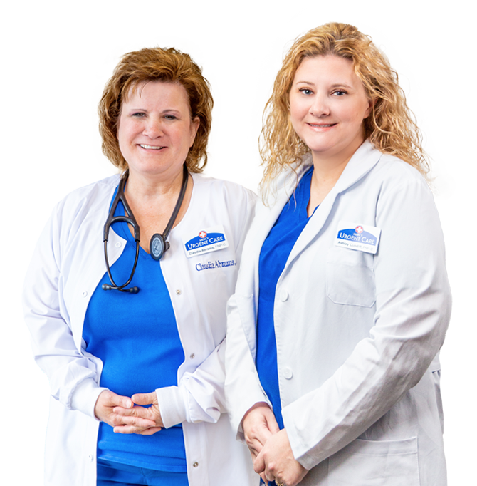 Portrait of Claudia Abrams and Ashley Cundiff, nurse practitioners at Mercy Urgent Care in Newburgh, Indiana